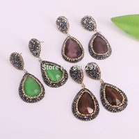 Wholesale Cat Eye Stones - 5Pairs Fashion Nature Druzy Faceted Cat Eye Stone Drop Earrings,with Crystal Zircon Paved Charm Dangle Earrings