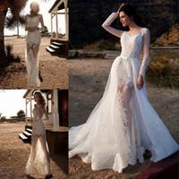 Wholesale Detachable Long Sleeve Bridal - Vintage Long Sleeves Lace Mermaid Wedding Dresses 2017 Sexy See Through Sheer Appliques Detachable Train Bridal Gowns Vestido De Noiva
