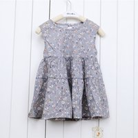 Wholesale Small Ball Gown - (10 piece)100% Cotton Sleeveless Girls Dress Small floral Round Pleated skirt Two colors free shipping