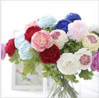 ingrosso fiore artificiale cinese per la decorazione-Galleggiante pianta artificiale cinese peonia erbacea decorazione di cerimonia nuziale fiore di seta di qualità superiore accessori per la decorazione G495