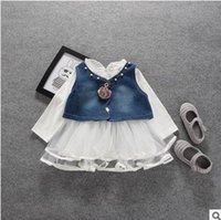 Wholesale Toddler Waistcoat Set - Baby girls princess outfits Toddler kids ruffle collar long sleeve tulle dress+Appliqued beaded waistcoat 2pcs sets 2017 kids clothes G0766