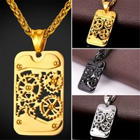 Wholesale Rivet Pendant Necklace - U7 Hot Steampunk Retro Mechanical Gear Rivet Pendant Necklace Industry Charm Fashion Steel Rope Chain For Men Hip Hop Jewelry Gift GP2358