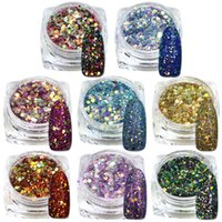 Wholesale Usa Nail Polishes - Wholesale- 1Bottle 2g New Arrival Mix Color USA Style Nail Art Acrylic Glitter Powder Dust Pigment Beauty Polish Tips For Decoration T28-40