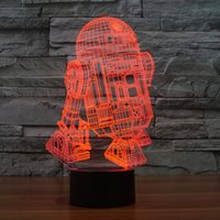 Wholesale 12v Furniture Lights - 3D Desk Lamp Foreign trade new R2D2-B Gift Acrylic Night light LED lighting Furniture Decorative colorful 7 color change household Home