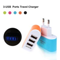 Wholesale Price Iphone Leads - Best Price Europe EU Plug 3 USB Port For iPhone 6 6S 7 Plus LED Light Candy Color Wall Charger Home Travel Charger Power Adapter