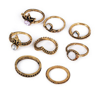 Wholesale wholesale brass knuckle jewelry online - 8pcs set Vintage Midi Rings Crown White gem Bronze brass Knuckle Ring Ethnic Carved Boho Midi Finger Rings For men women Fashion Jewelry