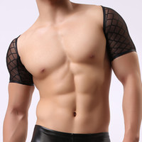 Wholesale Man Sexy Black Mesh Fishnet See Through Spandex Crop Tanks Tops Male Transparent Broad Shoulders Undershirts Wrestling Vest