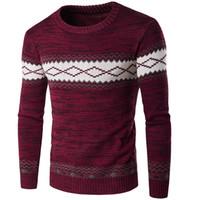 yılbaşı kazak atıcıları toptan satış-İngiltere Stil Kış Erkekler Noel Kazak Erkek Desen Tasarımcı Kazak Jumper Slim Fit O-Boyun Kazak erkek Sweatershirts