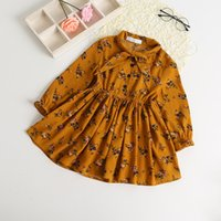 Wholesale Dressing Up Clothes - Children dress 2017 spring new grils lace-up bows floral dress kids ruffle long sleeve chiffon dress children clothing A0396