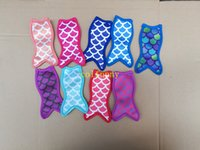 Wholesale Iced Fish - 10pcs lot Free Shipping Fish design style Neoprene Popsicle Holders Mermaid Pop Ice Sleeves Freezer Pop Holders 8.5x16cm