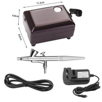ingrosso kit di compressore airbrush-Puplre speciale bellezza Mini compressore d'aria Set singola azione Trigger Airbrush Kit 0.4mm Ago aria-vernice Art Paint trucco Tattoo Cake Decor
