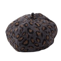 Wholesale korean cute winter hats - Wholesale-2016 New Korean Cute Pumpkin Leopard Hat Autumn Winter Woolen Octagonal Cap Complex Gubei Lei British Painter Hat