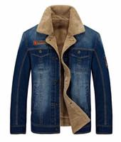Wholesale Men Jeans Thickening - New Retro Warm Denim Jackets Mens Jeans Coats Winter Jackets Brand Thicken Denim Coat Men Outwear Male Plus Size M~4X Brand AFS JEEPL