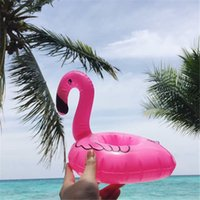 Wholesale Wholesale Can Drinks - Mini Flamingo Floating Inflatable Drink Can Pool Toys Event Party Supplies Drink Botlle Cup holder