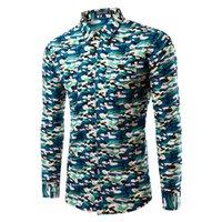 мужская рубашка с воротником оптовых-Wholesale-  New Camouflage Shirts Mens Long Sleeve Casual Shirts Slim Fit Army Camo Shirt Disruptive Pattern Mens shirts Camisa Hombre