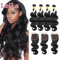 Wholesale 6inch human hair resale online - Indian Bundles With x4 Lace Closure Body Wave Unprocessed Human Hair Virgin Hair inch inch Hair Weft Extensions Dyeable