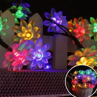 Atacado- 20LEDs Solar Powered Double Lotus Flower Lamp String Lights para Xmas