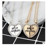 Wholesale Valentine Ladies Jewelry - Best Friend Necklaces Fashion lady Gold Silver Crystal Broken Heart Pendants For Women Jewelry Valentine Gifts