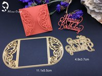 Wholesale Paper Albums - Metal cutting dies butterfly card frame happy birthday Scrapbook card album paper craft home decoration embossing stencil cutter