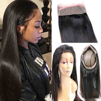 Wholesale Hair Extensions Full Lace Closure - Malaysian Straight 360 Lace Frontal Closure with Bundles 3 Bundles Hair Extension Weave with 360 Lace Frontal Full Lace Frontal Human Hair