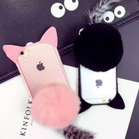 Wholesale Cute Cat Ear Iphone Case - 3D Cute Pussy Cat Ear Tail Soft TPU Case Furry Back Cover Cartoon Fluffy Plush Fur Ball For iPhone 6 6S 7 Plus