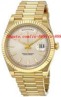 ingrosso orologi a quadranti gialli automatici-Orologi di lusso di alta qualità 40 argento diagonale quadrante oro giallo 18 carati movimento automatico orologio da uomo Orologi da polso da uomo