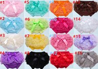 Wholesale Wholesale Baby Ruffle Diaper Cover - New Arrival baby Double lace bloomers newborn toddler girl ruffle panties Infant bow diaper cover %100 cotton shorts clothing