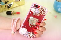 Wholesale Iphone 4s Cases Pearl - 30PCS For iphone 7 7plus 6s 6splus 6 6plus 5s 4s Rhinestone pearl soft silicone Soft plastic case Transparent soft shell case