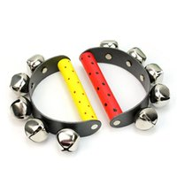 Wholesale Tambourine Rattle - Wholesale- New Cute Baby 5 Jingle Bell Wooden Handle Music Tambourine Ring Rattle Toy Education