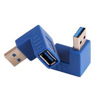 derece usb adaptörü toptan satış-ZJT07 Evrensel USB 3.0 Tip A Erkek Kadın Tak 90 Derece Sol Açı Konnektör Adaptörü Çoğaltıcı Yüksek kalite Mavi