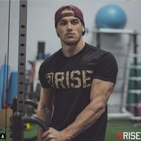 Wholesale Bodybuilding T Shirts Mens - Wholesale- RISE Mens Brand Crossfit T-Shirts Printed Bodybuilding Slim Cotton printing T Shirt Short Sleeve Muscle Men Tees fashion Tops