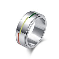 Wholesale Romantic Fashion Trend - fashion trend 8mm romantic Rotated lesbian gay pride Rainbow Flag Ring unisex stainless steel band rings