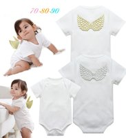 Wholesale Girl Clothes Wings - INS 2 styles New Arrivals Hot sell infant girl Summer Flower Print and Angel wings romper baby clothing girl romper 0-2T