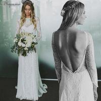 Wholesale Vintage French Lace Wedding Dress - Real Picture Exquisite French Lace Wedding Dresses 2017 Long Sleeve Open Back Boho Beach Chiffon Bohemian Bridal Dress vestido de noiva