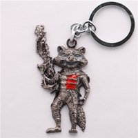 Wholesale Galaxy Trendy - Wholesale 10pcs lot Movie Guardians of the Galaxy Rocket Raccoon Keychain High Quality Alloy Key Chains Size 7.5*4.5cm
