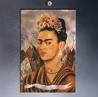 Wholesale Dr Painting - self-portrait-dedicated-to-dr-eloesser-1940 poster By Frida Kahlo paint Wall oil Painting picture paint on canvas D04