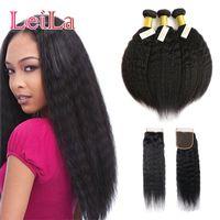 cheveux vierges vierges italiennes achat en gros de-Kinky Malaysian Straight Hair Bundle 3 avec fermeture Virgin Hair 100% cheveux non transformés italien Yaki grossier avec fermeture 4X4 gratuite