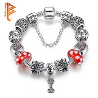 Wholesale Silver 925 Bone Charm - BELAWANG Antique 925 Silver Bone Pendant Charm Bracelet for Women Butterfly Crystals Red Murano Glass Beads Bracelet Jewelry Gift