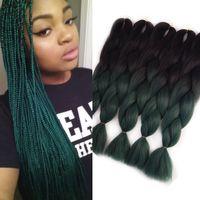 iki ton yeşil saç toptan satış-VERVES yeşil iki ton ombre kanekalon örgü saç 24 inç Güzel kanekalon jumbo örgü uzantıları sentetik saç