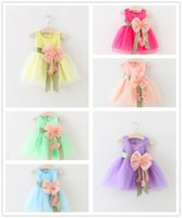 Wholesale Korean Casual Formal Dressing - 2017 New Korean Lace Princess Children Dress 6 Colors Crew Neck Casual Elegant Dresses For Girl Beautifull Fashion Mini Bow Girl Dress