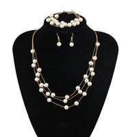 Wholesale pearl tassel earrings - Stylish Pearl Necklace Bracelet Earrings Jewelry Sets multilayer Tassel Gold silver Women's Xmas gift 20set lot