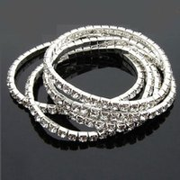 Wholesale Holiday Tennis - 925 Sterling Silver Plated Spring 1-Row Line Clear Rhinestone Crystal Bracelet Tennis Bracelets Cubic Zircon Bangles