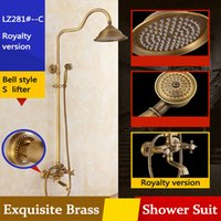 Wholesale Antique Brass Rain Shower Faucet - Archaistic Bathroom Shower Suit Head and Hand Big Round Rain Shower Antique Brass Low lead Shower Set Thermostatic Faucet with retail box