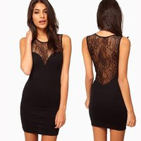 Wholesale Wholesale Black Lace Evening Dresses - Summer Bodycon Sexy Black Evening Party Dresses Night Club Women Lace Dress Free Shipping