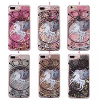 Wholesale Hard Plastic Horse - Magical Quicksand Dynamic Liquid Glitter Unicorn Horse Hard Case For Iphone 7 I7 6S Plus SE 5 5S Iphone7 Constellation Cell Phone Cover