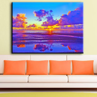 Wholesale beautiful oil paintings art for sale - ZZ1254 beautiful canvas posters and prints art sunrise seascape canvas pictures oil art painting for livingroom bedroom wall art