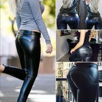 Wholesale Black Leather Pants Sale - Fashion Hot Sale Slim Women Biker Skinny Leather Pants Trousers Leggings Black PU Lady Pants S--XL