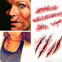 Wholesale Stickers For Tattoos - Halloween Zombie Scars Tattoos With Fake Scab Bloody Costume Makeup Halloween Decoration Terror Wound Scary Stickers for women men boy girls