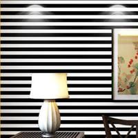 einfache schwarze weiße tapete großhandel-Papel de Parede. 10M Volumen schwarze und weiße breite Streifen vertikale Streifen Tapete 3d wallpaper einfache Dekoration, Tapeten
