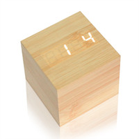 UK usb desk led - modern wood USB AAA Powered Cube LED Digital Alarm Square Modern Wood Thermometer Temp Date Display Calendars Desk Table Clock